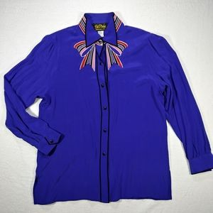Bob Mackie Wearable Art Silk Button Up Blouse